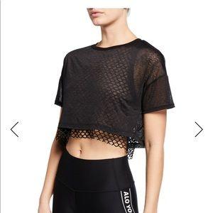 Alo yoga mesh crop top black